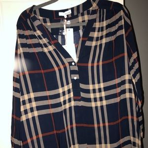 Tops - Navy blue, striped blouse